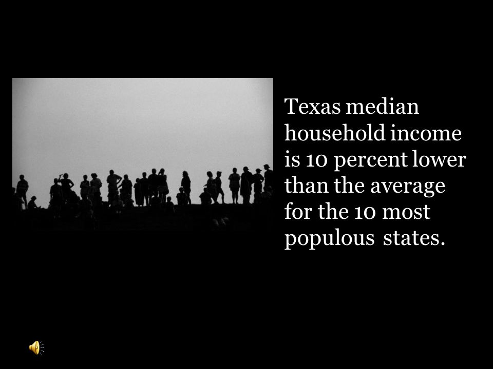Texas median household income is 10 percent lower than the average for the 10 most populousstates.