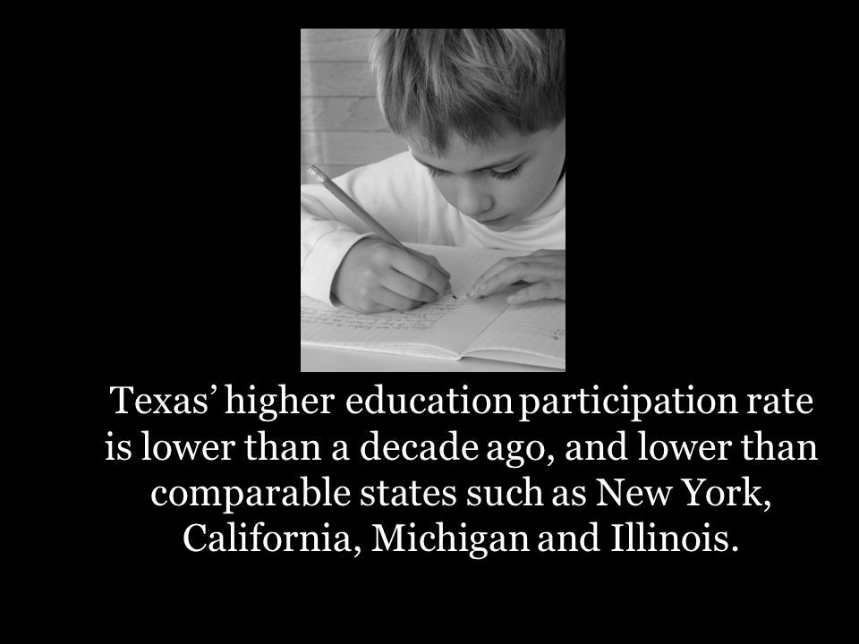 Texas higher participation rate is lower than a decade ago, and lower than comparable states such as New York, California, Michigan and Illinois.