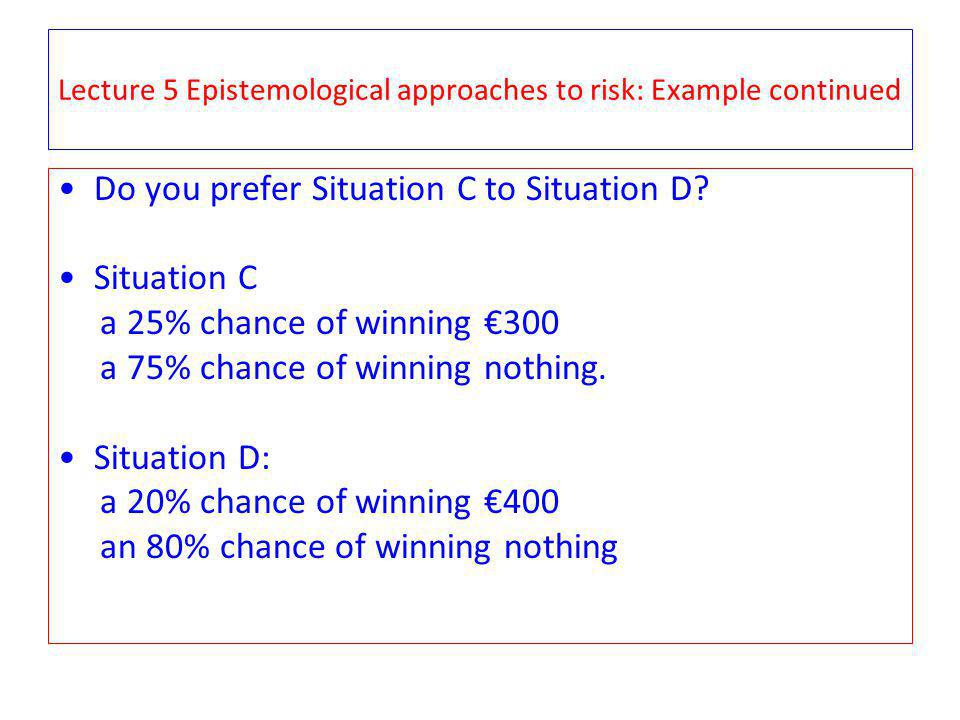 Lecture 5 Epistemological approaches to risk: Example continued Do you prefer Situation C to Situation D? Situation C a 25% chance of winning 300 a 75