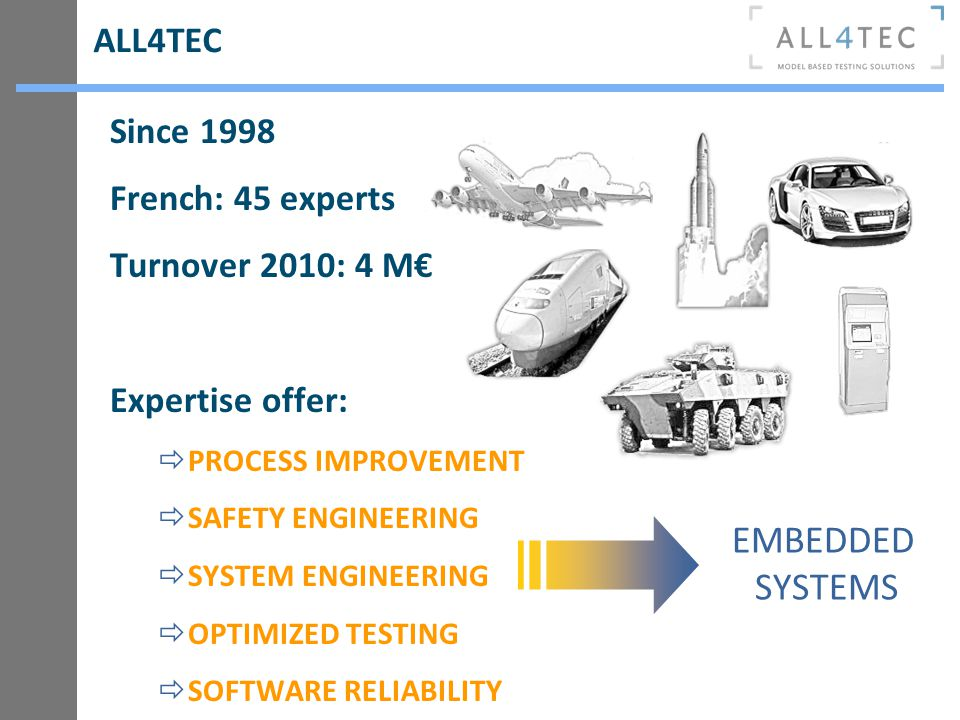 Since 1998 French: 45 experts Turnover 2010: 4 M Expertise offer: PROCESS IMPROVEMENT SAFETY ENGINEERING SYSTEM ENGINEERING OPTIMIZED TESTING SOFTWARE