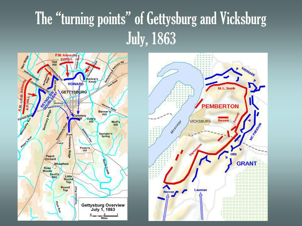 The turning points of Gettysburg and Vicksburg July, 1863