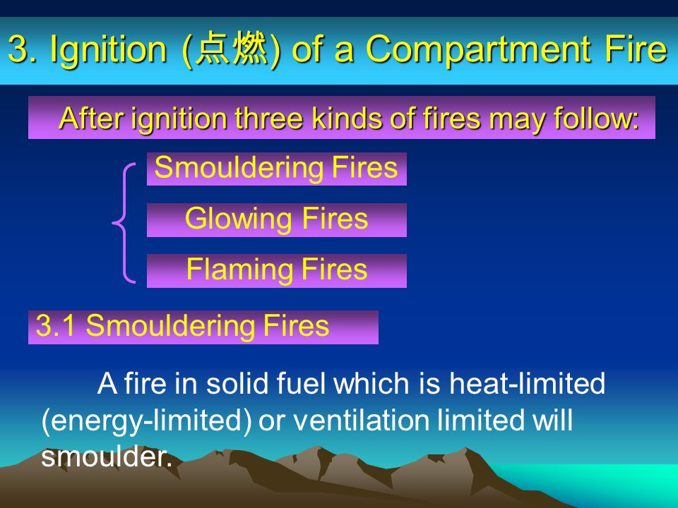 Smouldering Fires After ignition three kinds of fires may follow: After ignition three kinds of fires may follow: A fire in solid fuel which is heat-l