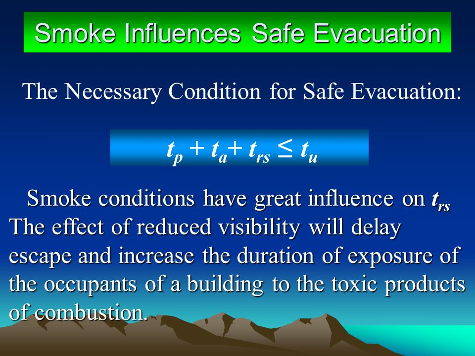 Smoke Influences Safe Evacuation t p + t a + t rs t u Smoke conditions have great influence on t rs The effect of reduced visibility will delay escape