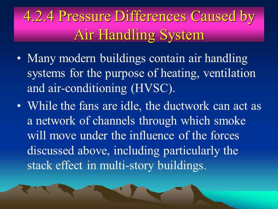 4.2.4 Pressure Differences Caused by Air Handling System Many modern buildings contain air handling systems for the purpose of heating, ventilation an