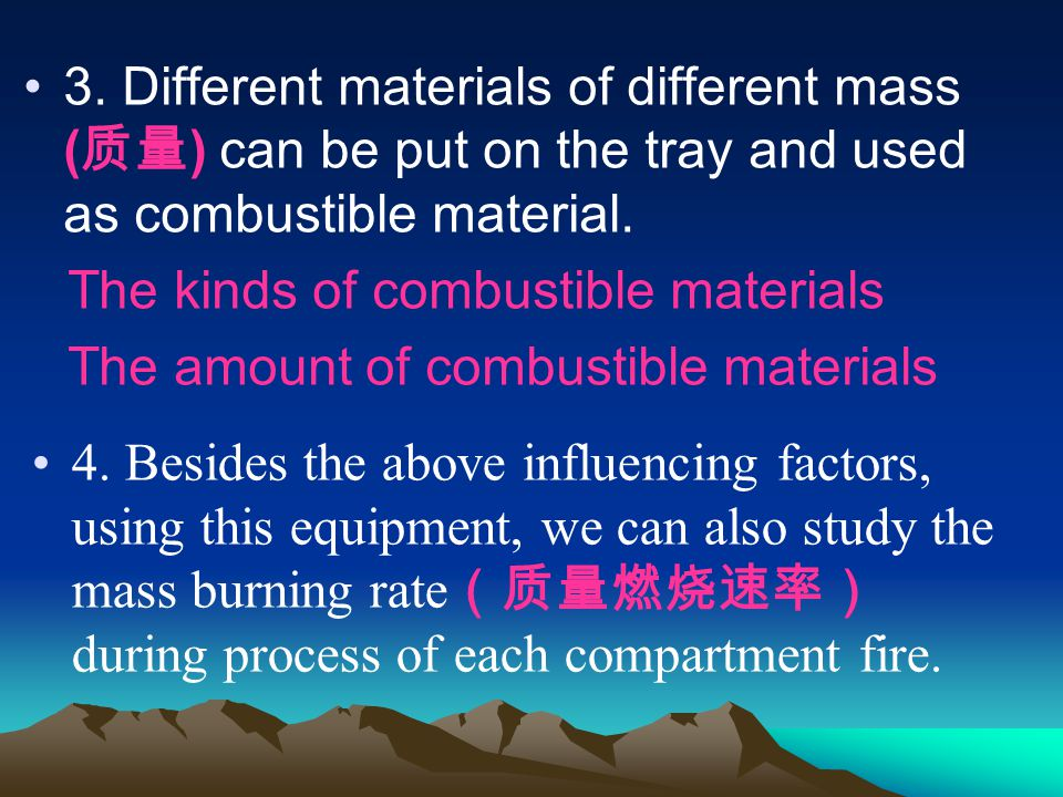 3. Different materials of different mass ( ) can be put on the tray and used as combustible material. The kinds of combustible materials The amount of