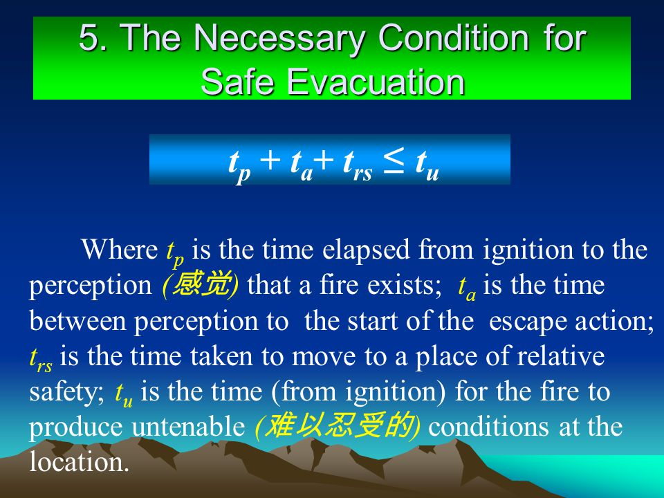 5. The Necessary Condition for Safe Evacuation Where t p is the time elapsed from ignition to the perception ( ) that a fire exists; t a is the time b