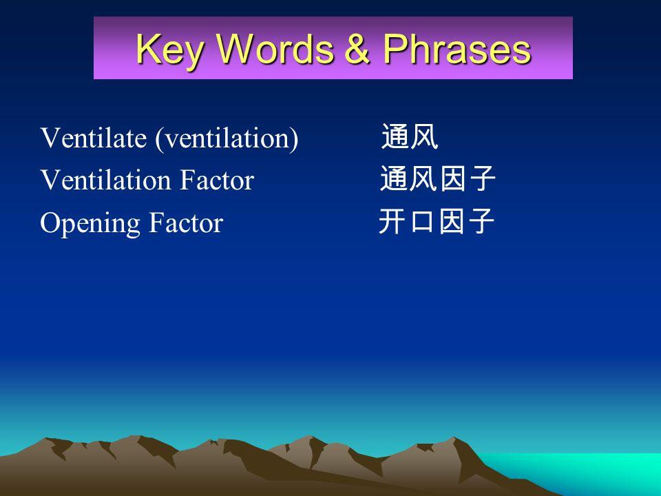 Ventilate (ventilation) Ventilation Factor Opening Factor Key Words & Phrases