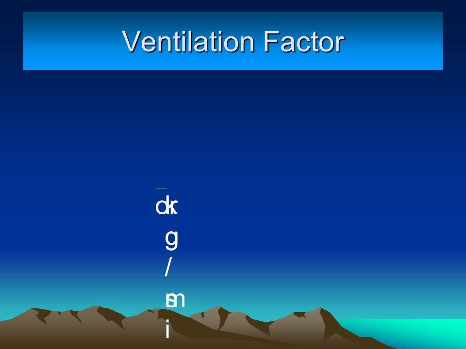 kg/minkg/min kg/skg/s or Ventilation Factor