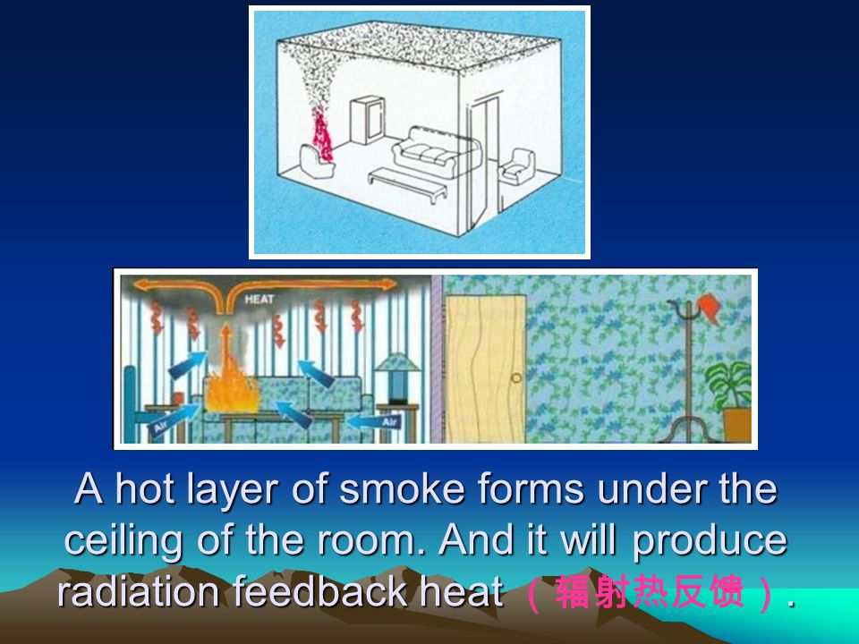 A hot layer of smoke forms under the ceiling of the room. And it will produce radiation feedback heat.