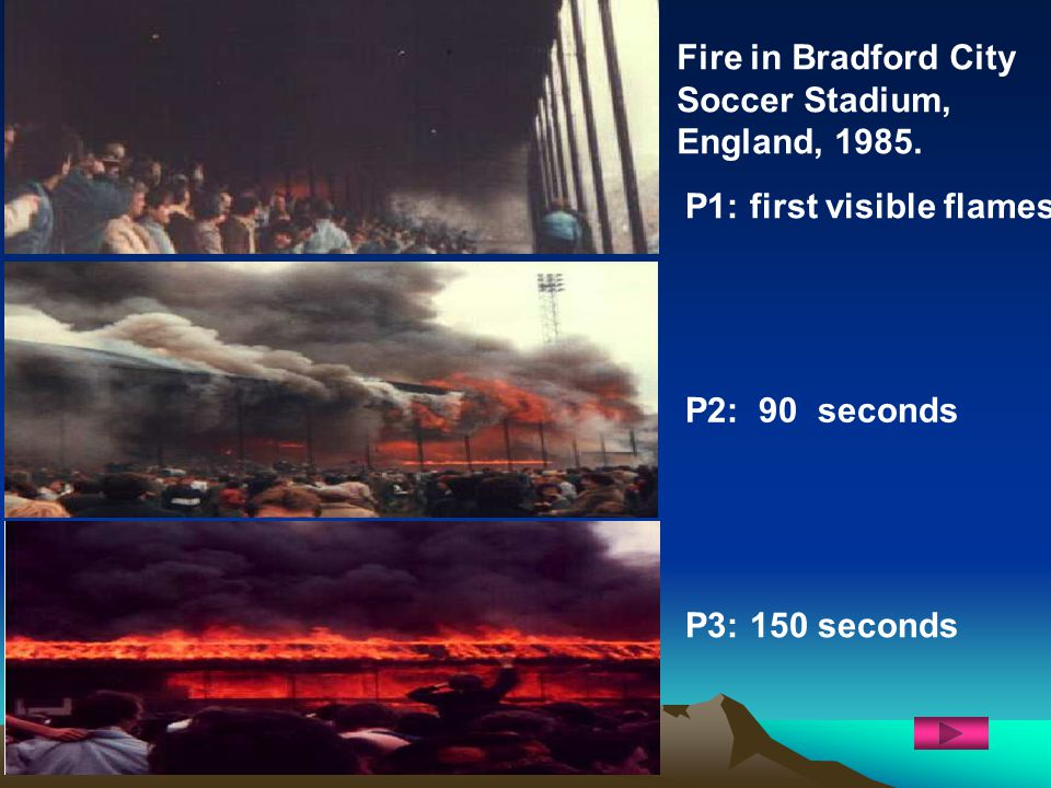 Fire in Bradford City Soccer Stadium, England, 1985. P1: first visible flames P2: 90 seconds P3: 150 seconds