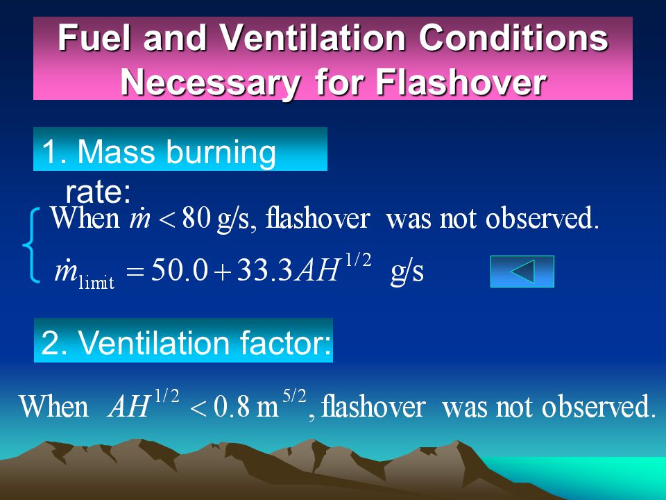 Fuel and Ventilation Conditions Necessary for Flashover 1. Mass burning rate: 2. Ventilation factor: