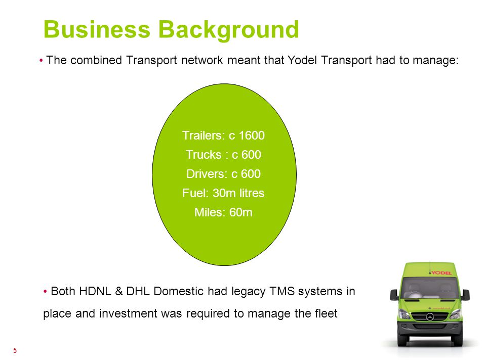 5 Business Background The combined Transport network meant that Yodel Transport had to manage: Trailers: c 1600 Trucks : c 600 Drivers: c 600 Fuel: 30