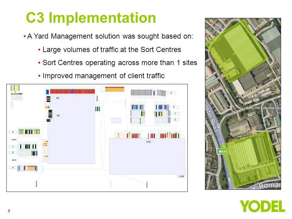 9 C3 Implementation A Yard Management solution was sought based on: Large volumes of traffic at the Sort Centres Sort Centres operating across more th