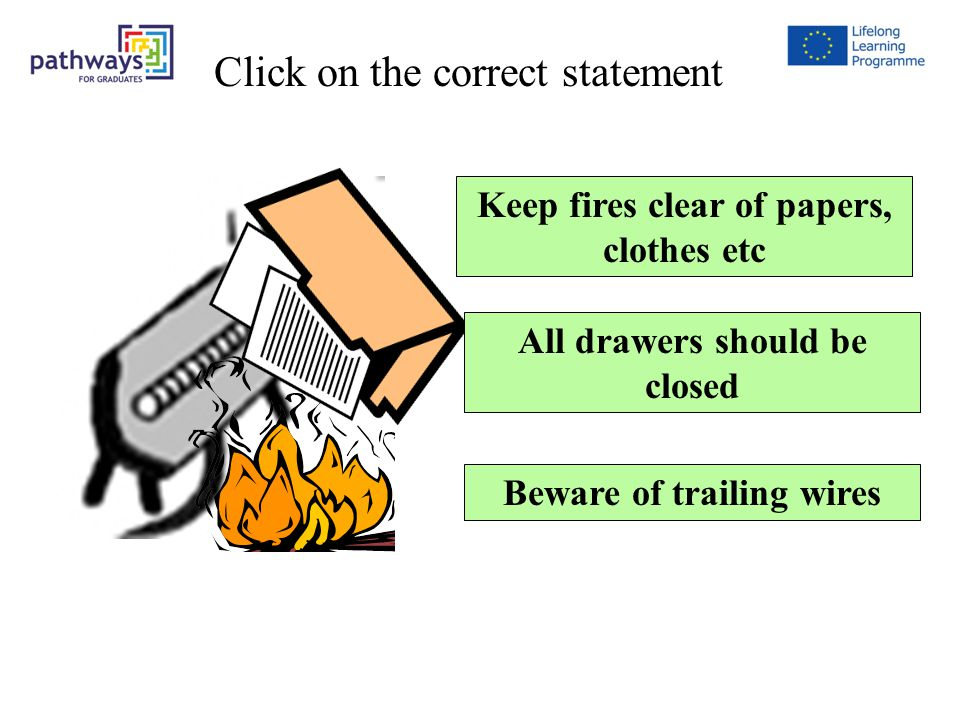 Keep fires clear of papers, clothes etc All drawers should be closed Beware of trailing wires Question 1 Click on the correct statement