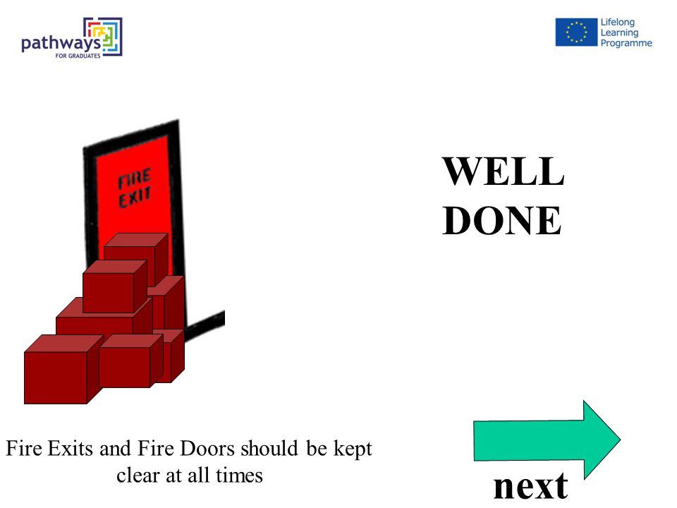 Correct Qu7 WELL DONE Fire Exits and Fire Doors should be kept clear at all times next