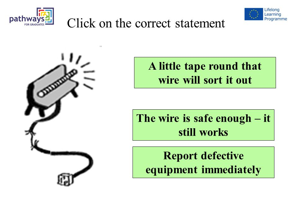Question9 A little tape round that wire will sort it out Report defective equipment immediately The wire is safe enough – it still works Click on the correct statement