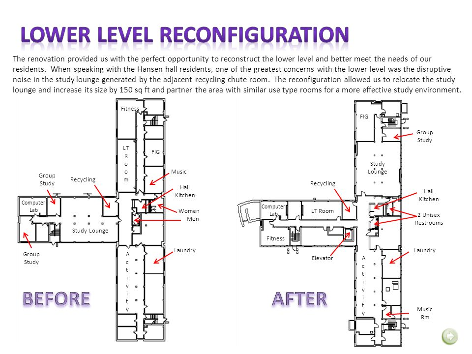 The renovation provided us with the perfect opportunity to reconstruct the lower level and better meet the needs of our residents. When speaking with