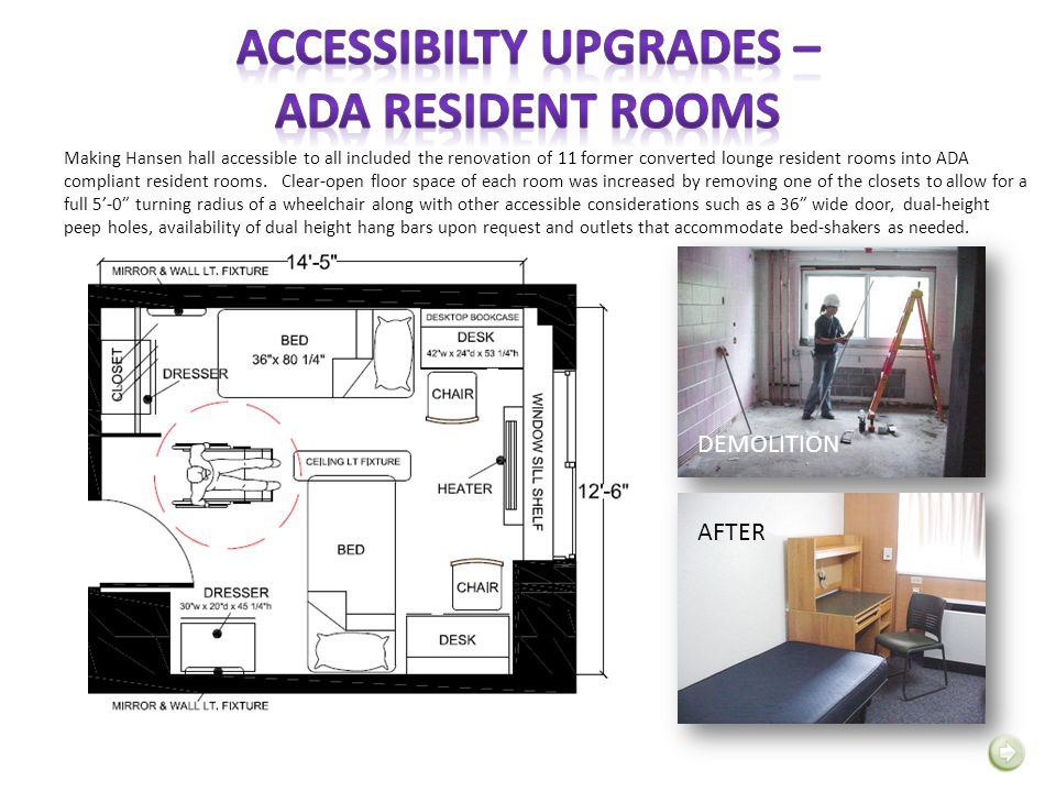 Making Hansen hall accessible to all included the renovation of 11 former converted lounge resident rooms into ADA compliant resident rooms. Clear-ope