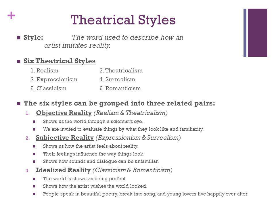 + Theatrical Styles Style: The word used to describe how an artist imitates reality. Six Theatrical Styles 1. Realism2. Theatricalism 3. Expressionism
