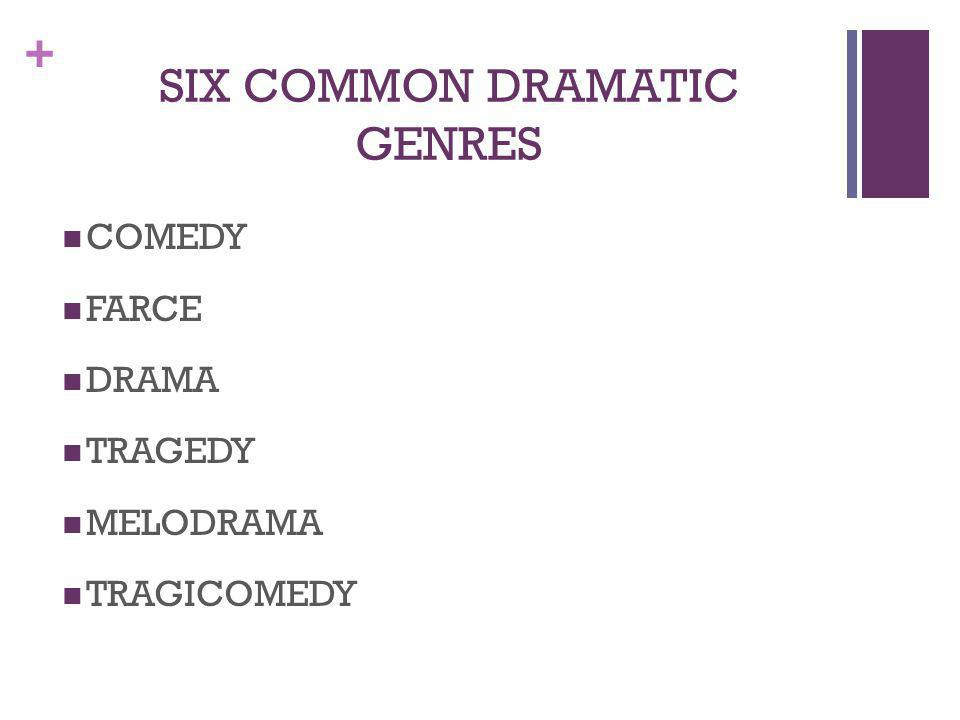 + SIX COMMON DRAMATIC GENRES COMEDY FARCE DRAMA TRAGEDY MELODRAMA TRAGICOMEDY