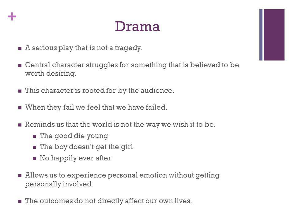 + Drama A serious play that is not a tragedy. Central character struggles for something that is believed to be worth desiring. This character is roote