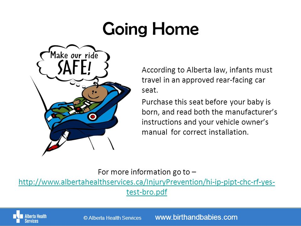 Going Home © Alberta Health Services www.birthandbabies.com According to Alberta law, infants must travel in an approved rear-facing car seat. Purchas