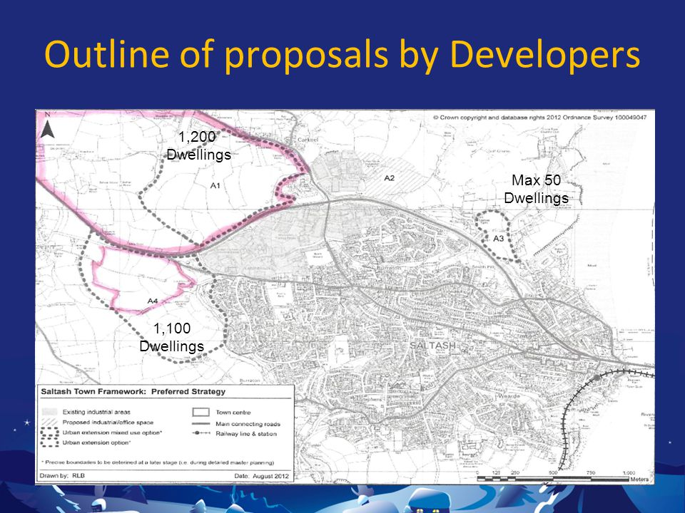 Outline of proposals by Developers 1,200 Dwellings 1,100 Dwellings Max 50 Dwellings