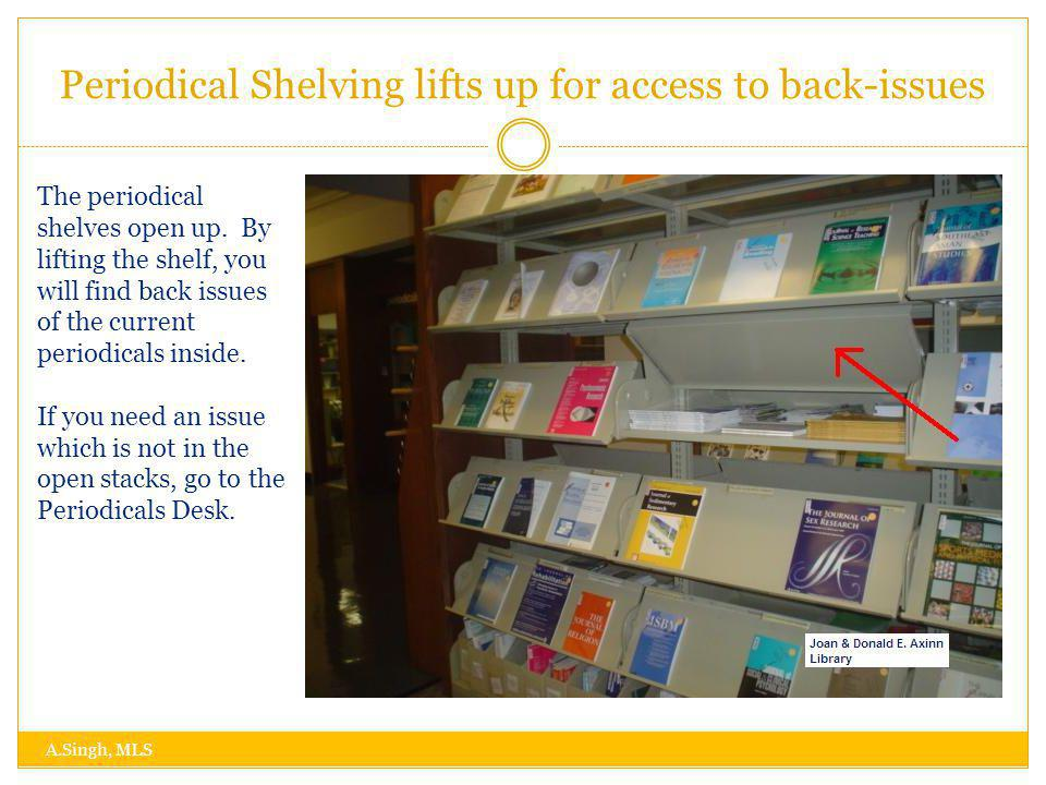Periodical Shelving lifts up for access to back-issues A.Singh, MLS The periodical shelves open up.