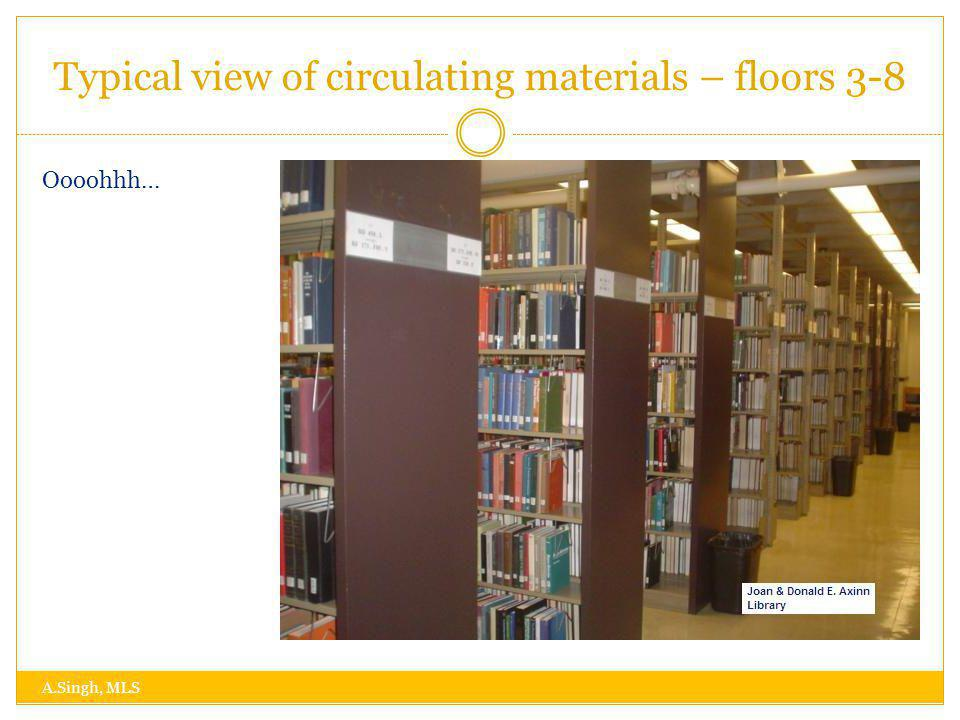 Typical view of circulating materials – floors 3-8 A.Singh, MLS Oooohhh…