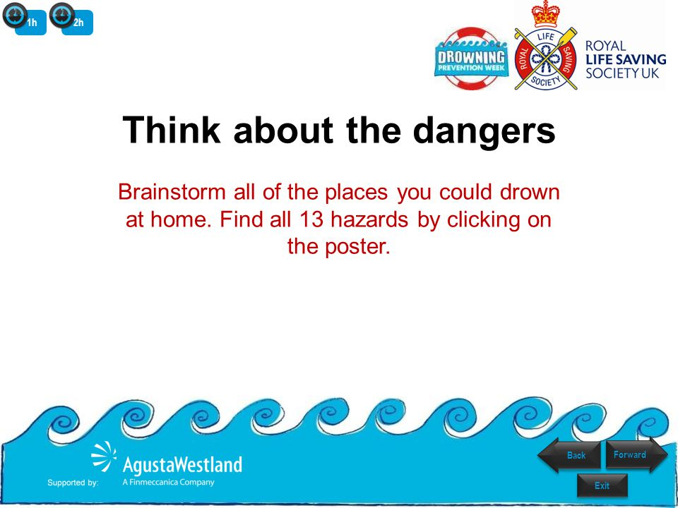 Think about the dangers Brainstorm all of the places you could drown at home. Find all 13 hazards by clicking on the poster. Back Exit Forward 1h2h