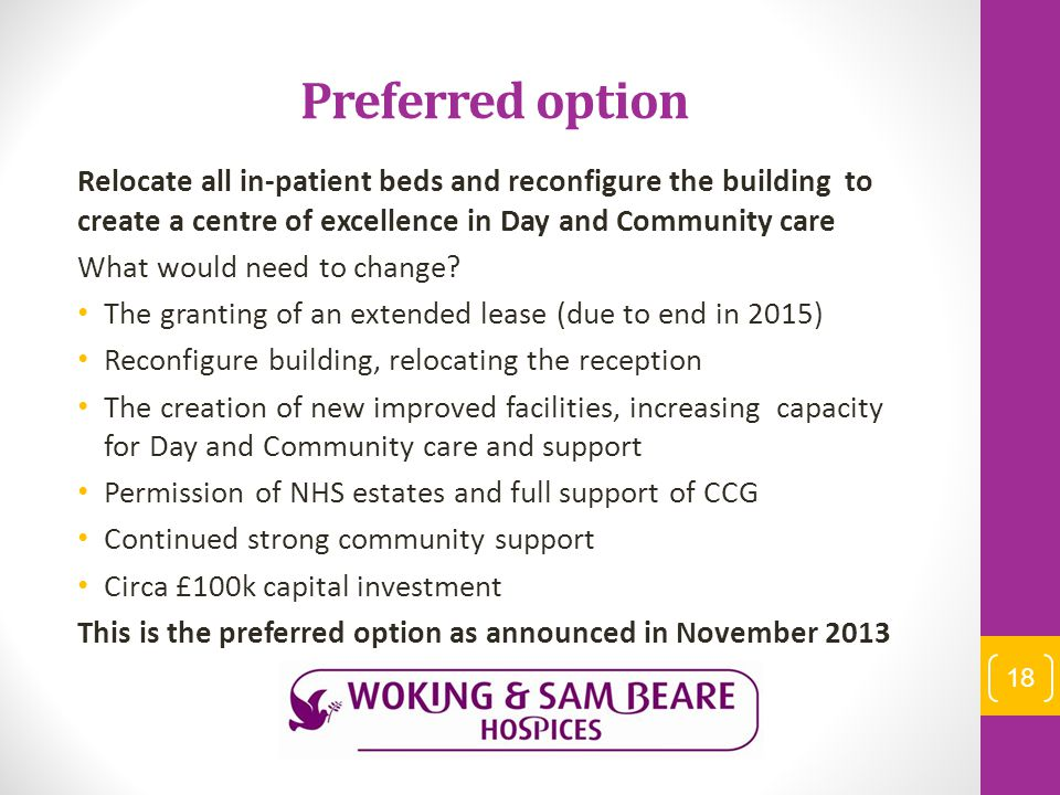Preferred option Relocate all in-patient beds and reconfigure the building to create a centre of excellence in Day and Community care What would need to change.