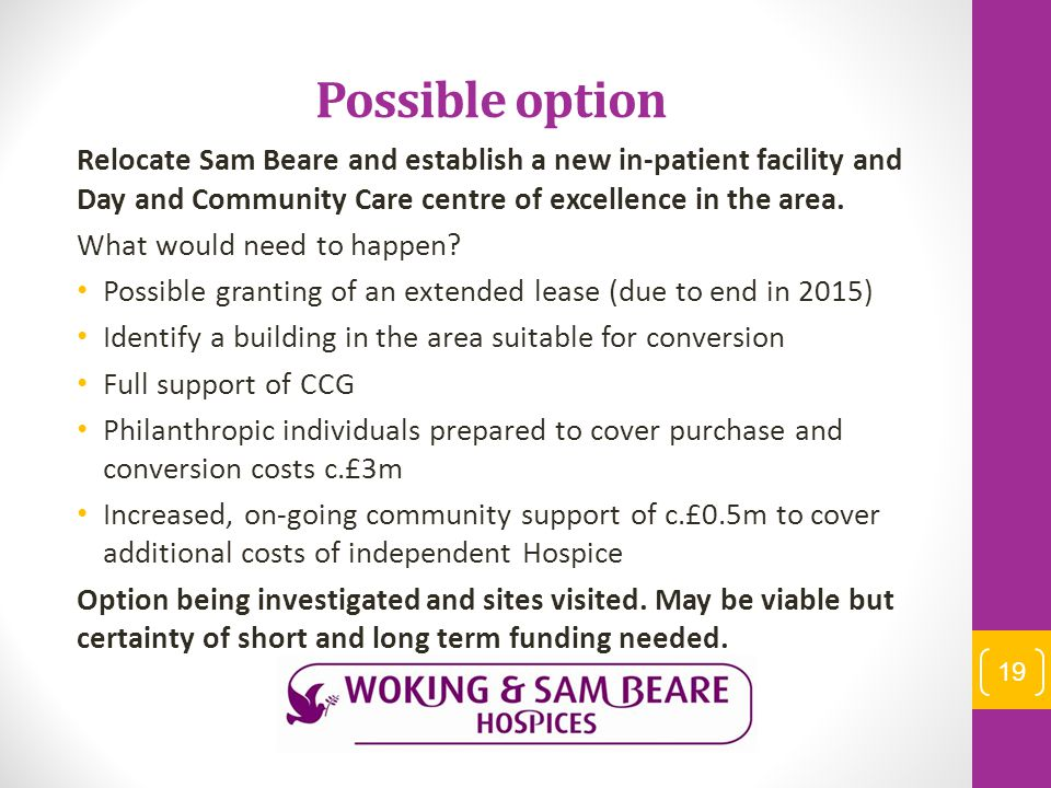 Possible option Relocate Sam Beare and establish a new in-patient facility and Day and Community Care centre of excellence in the area. What would nee