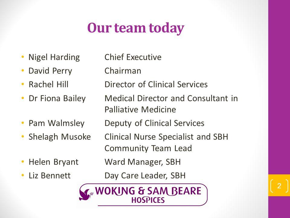 Our team today Nigel HardingChief Executive David PerryChairman Rachel HillDirector of Clinical Services Dr Fiona BaileyMedical Director and Consultan