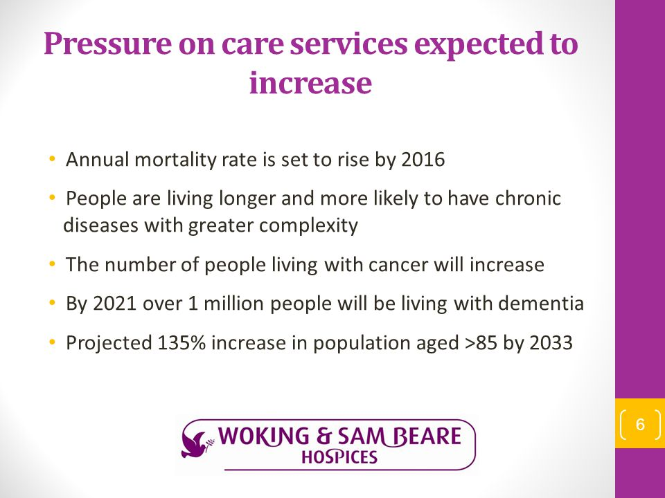 Pressure on care services expected to increase Annual mortality rate is set to rise by 2016 People are living longer and more likely to have chronic d