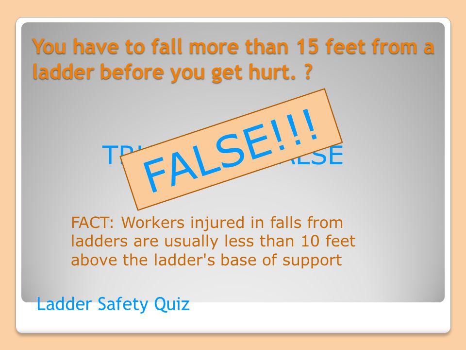 You have to fall more than 15 feet from a ladder before you get hurt. ? Ladder Safety Quiz TRUE OR FALSE FALSE!!! FACT: Workers injured in falls from