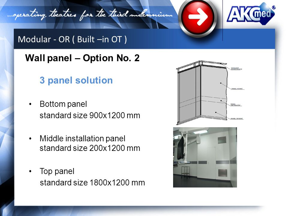 3 panel solution Bottom panel standard size 900x1200 mm Middle installation panel standard size 200x1200 mm Top panel standard size 1800x1200 mm Wall panel – Option No.