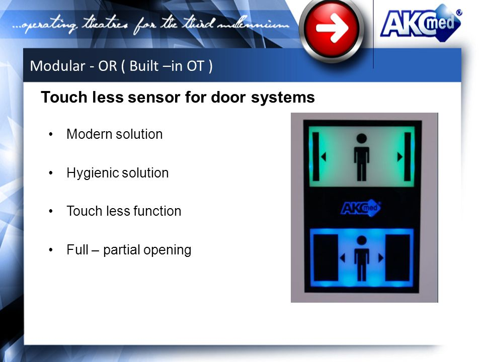 Modern solution Hygienic solution Touch less function Full – partial opening Touch less sensor for door systems Modular - OR ( Built –in OT )
