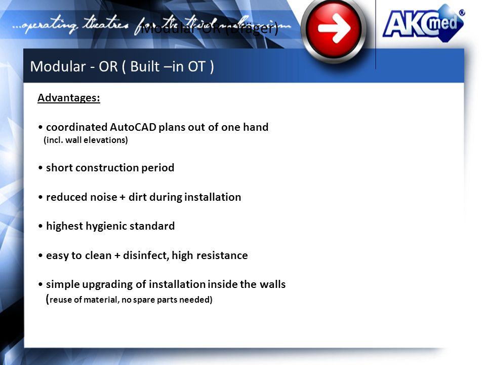 Modular-OR (Dräger) Advantages: coordinated AutoCAD plans out of one hand (incl.