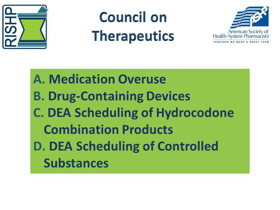 A. Medication Overuse B. Drug-Containing Devices C. DEA Scheduling of Hydrocodone Combination Products D. DEA Scheduling of Controlled Substances