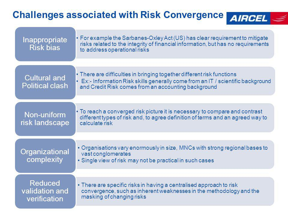 Challenges associated with Risk Convergence For example the Sarbanes-Oxley Act (US) has clear requirement to mitigate risks related to the integrity of financial information, but has no requirements to address operational risks Inappropriate Risk bias There are difficulties in bringing together different risk functions Ex:- Information Risk skills generally come from an IT / scientific background and Credit Risk comes from an accounting background Cultural and Political clash To reach a converged risk picture it is necessary to compare and contrast different types of risk and, to agree definition of terms and an agreed way to calculate risk Non-uniform risk landscape Organisations vary enormously in size, MNCs with strong regional bases to vast conglomerates Single view of risk may not be practical in such cases Organizational complexity There are specific risks in having a centralised approach to risk convergence, such as inherent weaknesses in the methodology and the masking of changing risks Reduced validation and verification
