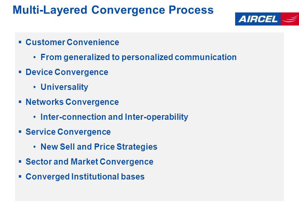 Multi-Layered Convergence Process Customer Convenience From generalized to personalized communication Device Convergence Universality Networks Convergence Inter-connection and Inter-operability Service Convergence New Sell and Price Strategies Sector and Market Convergence Converged Institutional bases