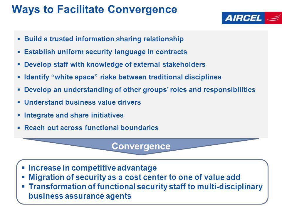 Ways to Facilitate Convergence Build a trusted information sharing relationship Establish uniform security language in contracts Develop staff with knowledge of external stakeholders Identify white space risks between traditional disciplines Develop an understanding of other groups roles and responsibilities Understand business value drivers Integrate and share initiatives Reach out across functional boundaries Increase in competitive advantage Migration of security as a cost center to one of value add Transformation of functional security staff to multi-disciplinary business assurance agents Convergence