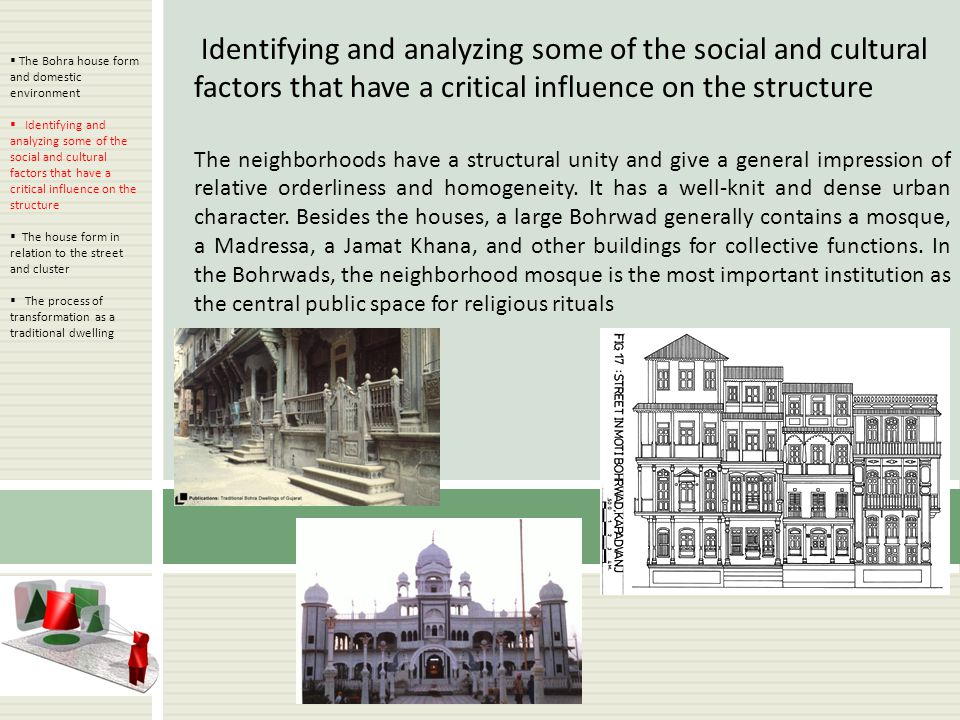Identifying and analyzing some of the social and cultural factors that have a critical influence on the structure The neighborhoods have a structural