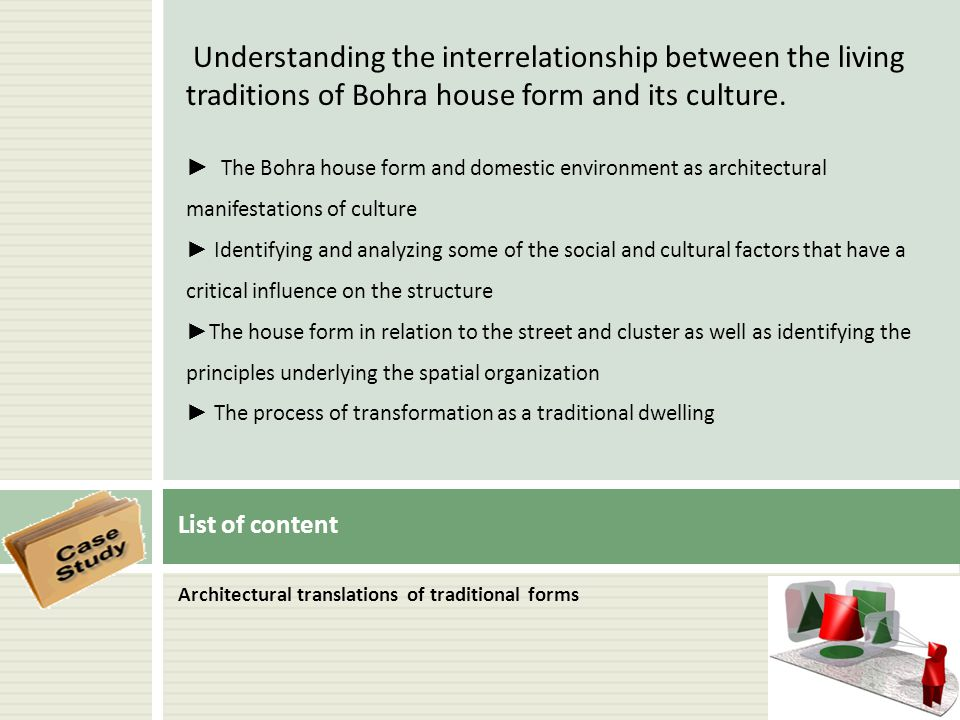 Architectural translations of traditional forms List of content Understanding the interrelationship between the living traditions of Bohra house form
