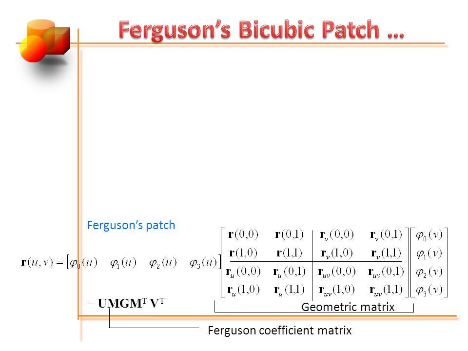 Fergusons patch = UMGM T V T Geometric matrix Ferguson coefficient matrix