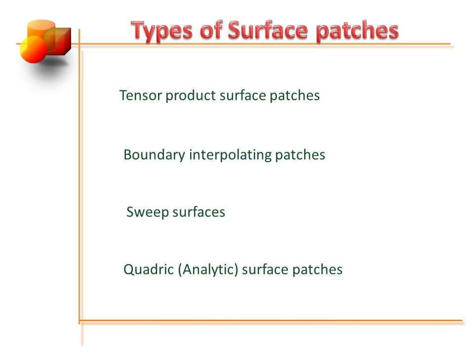 Tensor product surface patches Boundary interpolating patches Sweep surfaces Quadric (Analytic) surface patches