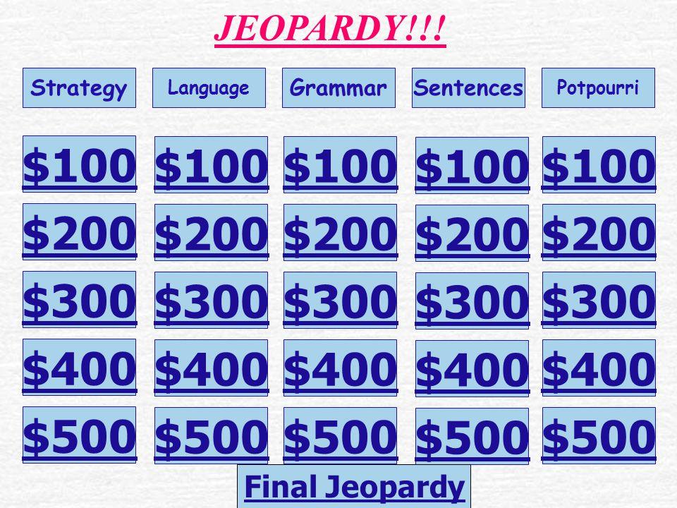 Writing JEOPARDY