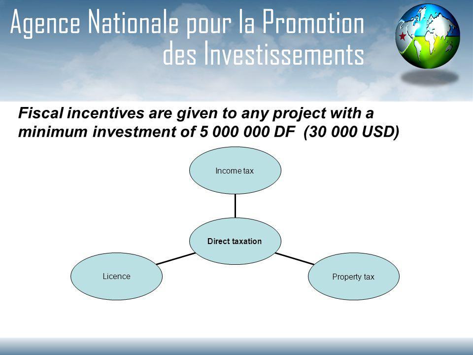 Fiscal incentives are given to any project with a minimum investment of 5 000 000 DF (30 000 USD) Licence Property tax Income tax Direct taxation