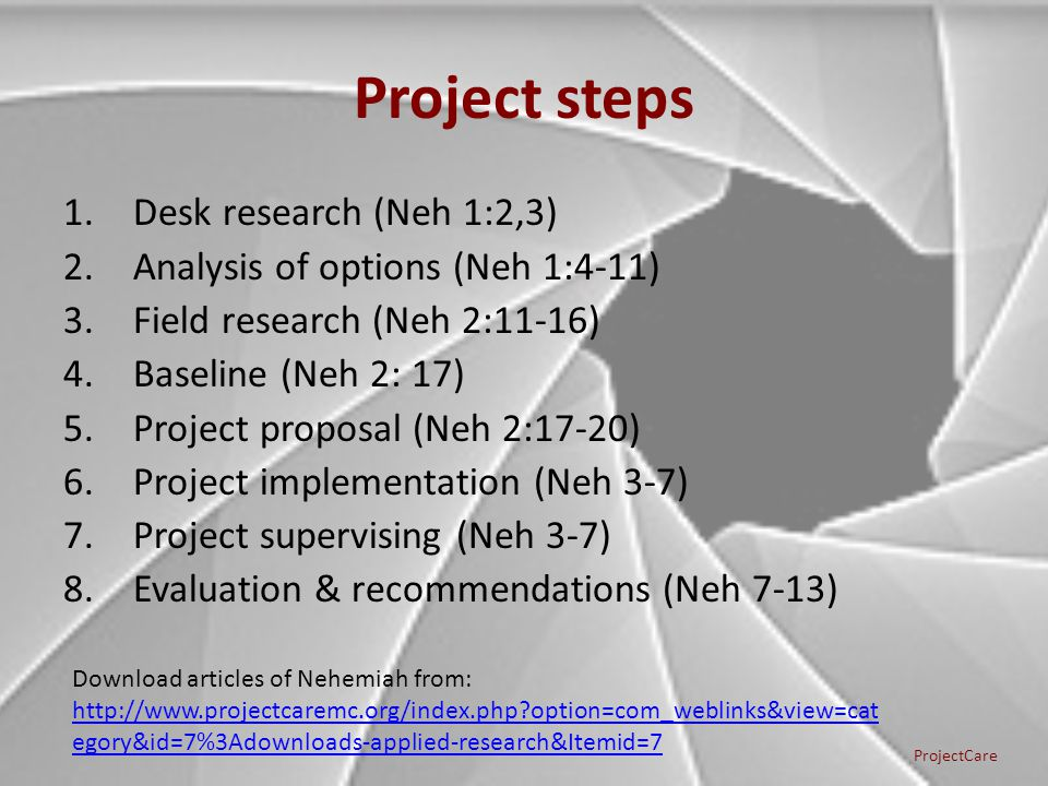 Project steps 1.Desk research (Neh 1:2,3) 2.Analysis of options (Neh 1:4-11) 3.Field research (Neh 2:11-16) 4.Baseline (Neh 2: 17) 5.Project proposal (Neh 2:17-20) 6.Project implementation (Neh 3-7) 7.Project supervising (Neh 3-7) 8.Evaluation & recommendations (Neh 7-13) ProjectCare Download articles of Nehemiah from: http://www.projectcaremc.org/index.php option=com_weblinks&view=cat egory&id=7%3Adownloads-applied-research&Itemid=7