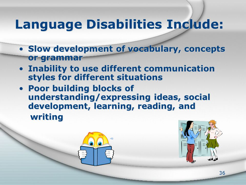 SLPs Work With Children Who Have a Variety of Disabilities Language Voice Fluency or stuttering Articulation Swallowing, also called dysphagia Languag